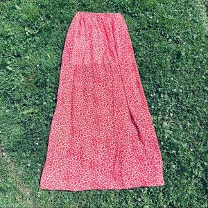 L'ATISTE red and white floral maxi skirt